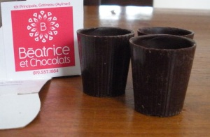 Anything goes in a chocolate shot glass.