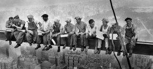 Charles C Ebbets took this iconic photo of NYC construction workers lunching on a crossbeam in 1932.