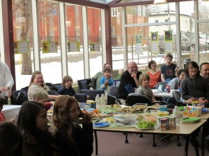 Some of the happy folk at my launch. (See the snow outside? Sigh.)