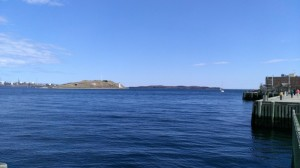 Blue sky, blue water.